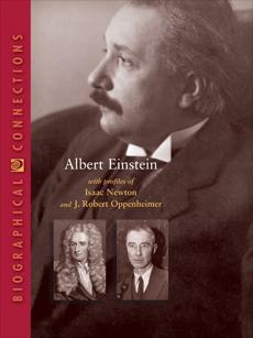 Albert Einstein with profiles of Isaac Newton and J. Robert Oppenheimer, World Book